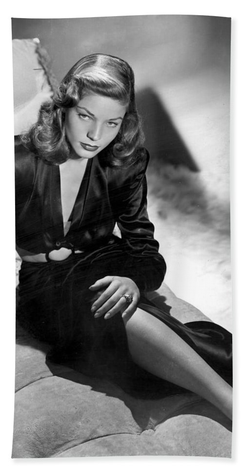 Lauren Bacall Bath Sheet featuring the photograph Lauren Bacall by Unknown