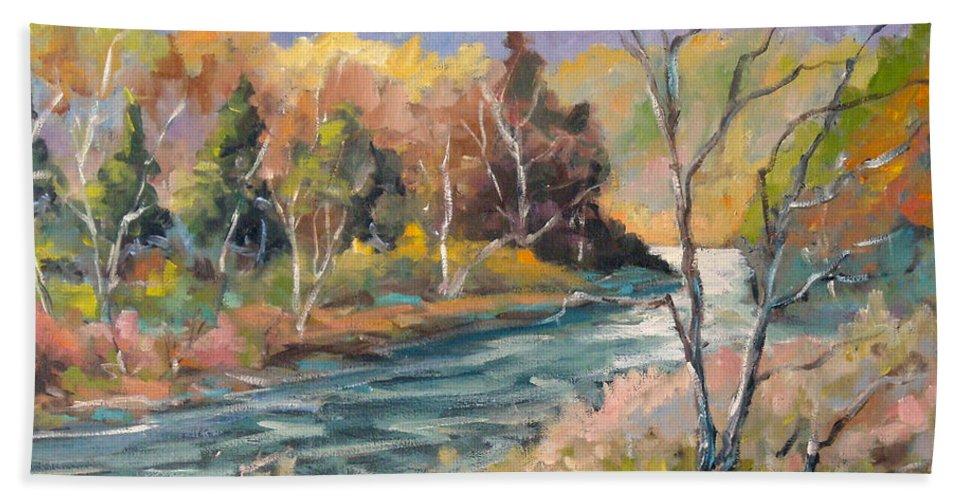 Landscape Bath Towel featuring the painting Laurentian Hills by Richard T Pranke
