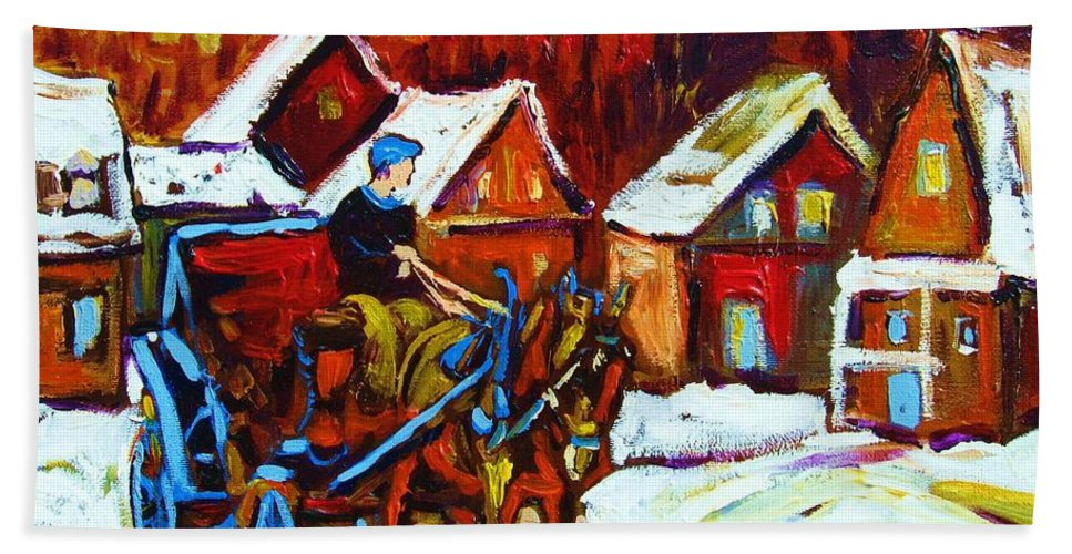 Horse And Carriage Bath Towel featuring the painting Laurentian Village Ride by Carole Spandau