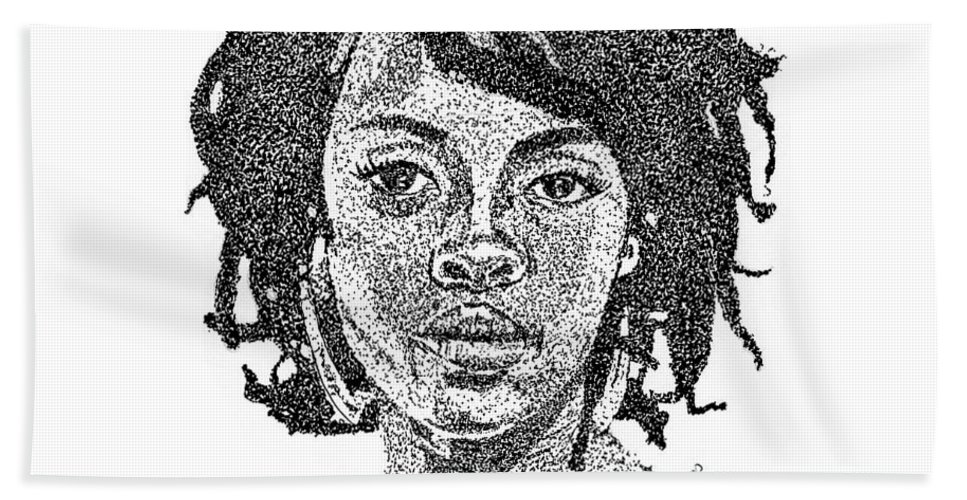 Black Art Hand Towel featuring the drawing Lauryn Hill by Marcus Price