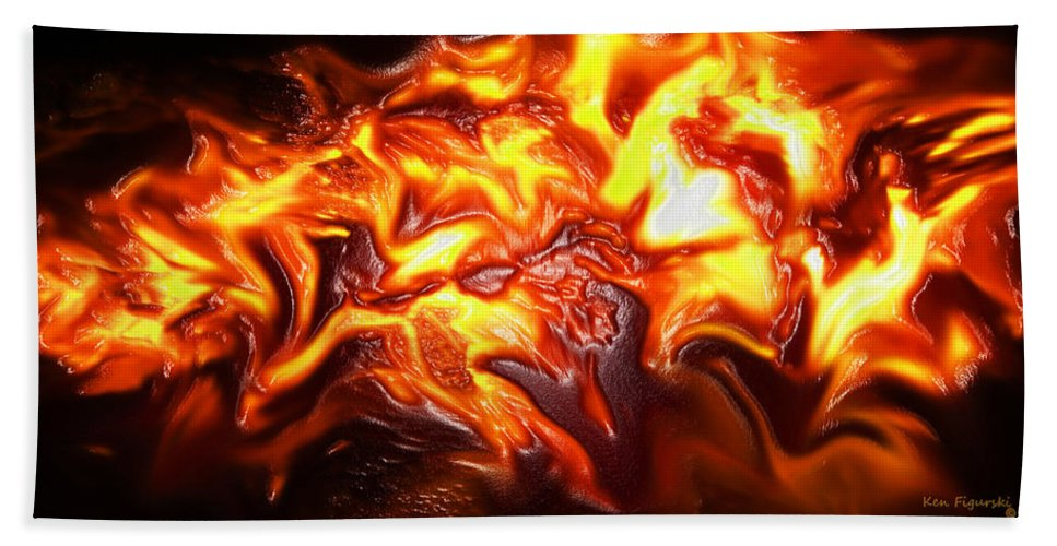 Abstract Hand Towel featuring the digital art Lava by Ken Figurski