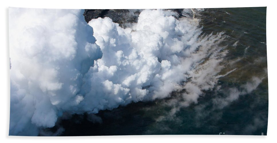 Hawaii Lava Pacific Ocean Smoke Steam Kilauea Volcano Helicopter Aerial Photography Bloomrosen Hand Towel featuring the photograph Lava, Meet Ocean 2 by J Bloomrosen