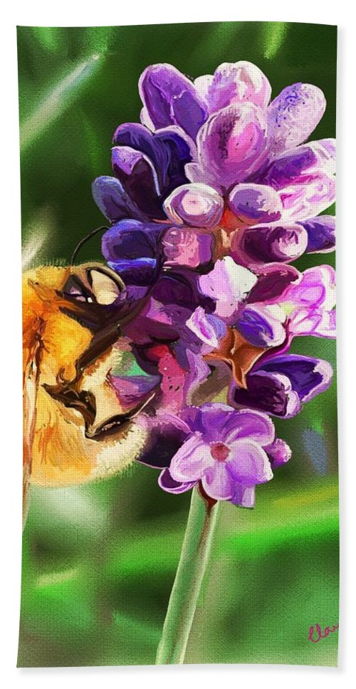 Lavender Hand Towel featuring the digital art Lavender Bee by Claire Bower