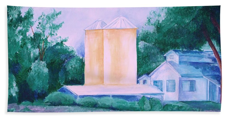 Western Bath Sheet featuring the painting Lavender Farm Albuquerque by Eric Schiabor