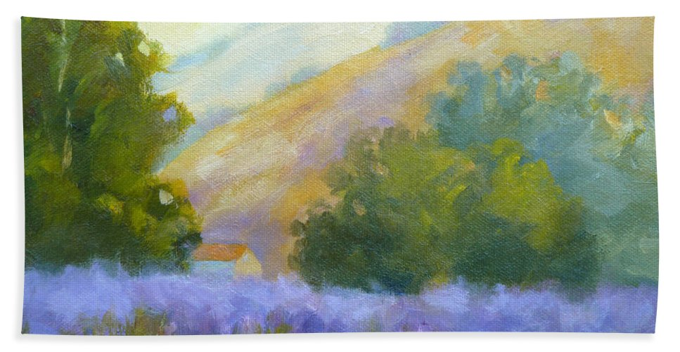 Lavender Field Bath Sheet featuring the painting Lavender Field by Carolyn Jarvis