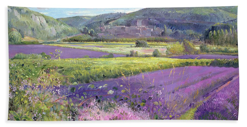 Field; South Of France; French Landscape; Hills; Hill; Landscape; Flower; Flowers; Field; Tree; Trees; Bush; Bushes; France; Provence Hand Towel featuring the painting Lavender Fields In Old Provence by Timothy Easton