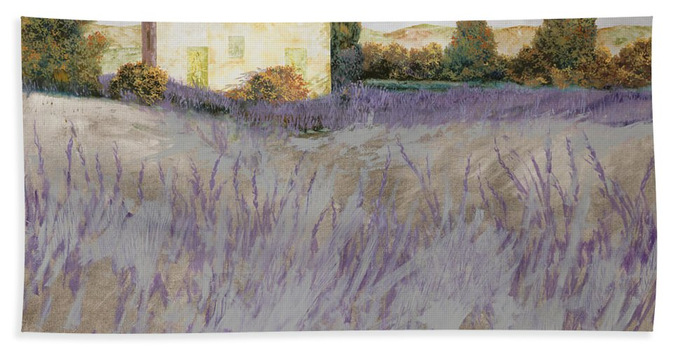 Lavender Hand Towel featuring the painting Lavender by Guido Borelli