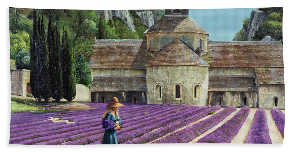 Field; Abbey; Church; Picking; Girl; Flowers; Abbaye Senanque; Provence; Tree; Trees; Lavender Hand Towel featuring the painting Lavender Picker - Abbaye Senanque - Provence by Trevor Neal