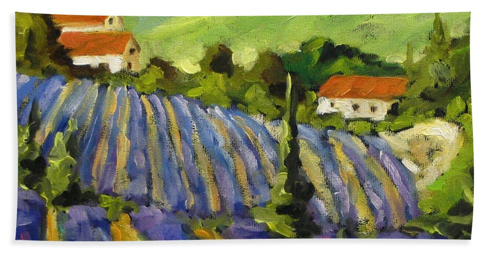 Art Hand Towel featuring the painting Lavender Scene by Richard T Pranke