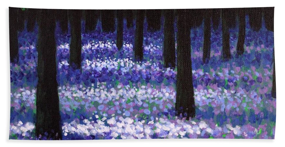 Landscape Hand Towel featuring the painting Lavender Woodland by John Nolan