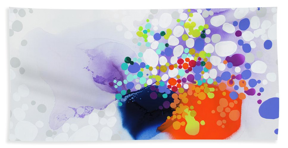 Abstract Bath Towel featuring the painting Lay The Blame by Claire Desjardins
