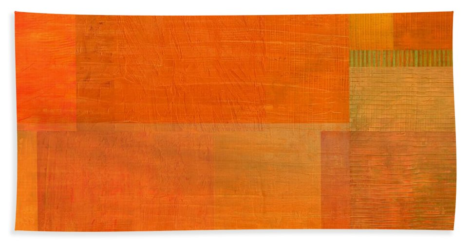 Monochromatic Bath Sheet featuring the painting Layer Study - Orange by Michelle Calkins