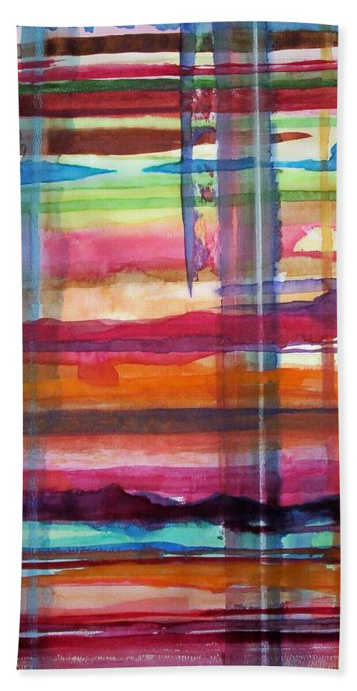 Abstract Hand Towel featuring the painting Layered by Suzanne Udell Levinger