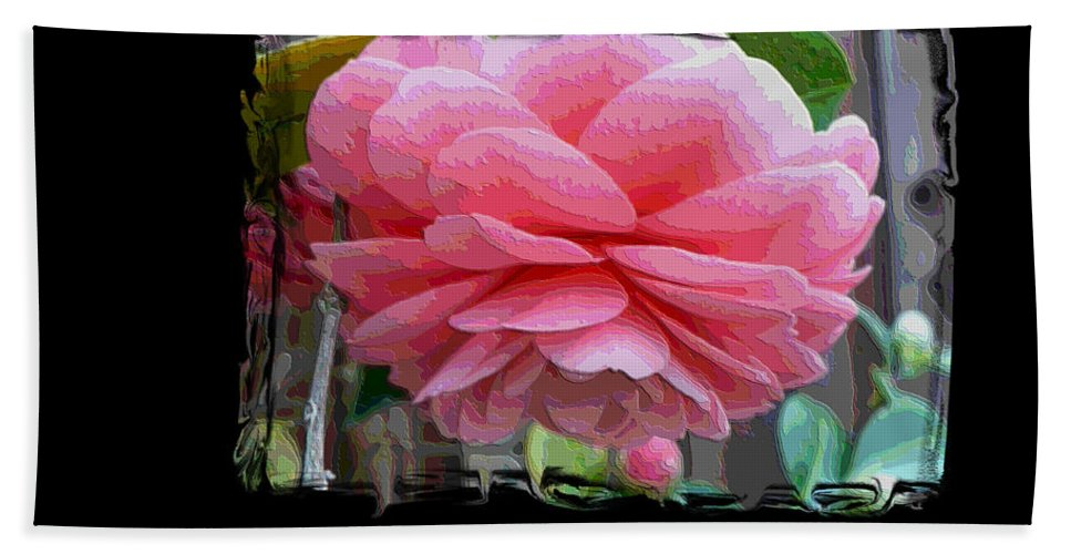 Pink Camellia Bath Sheet featuring the digital art Layers Of Pink Camellia Dream by Carol Groenen
