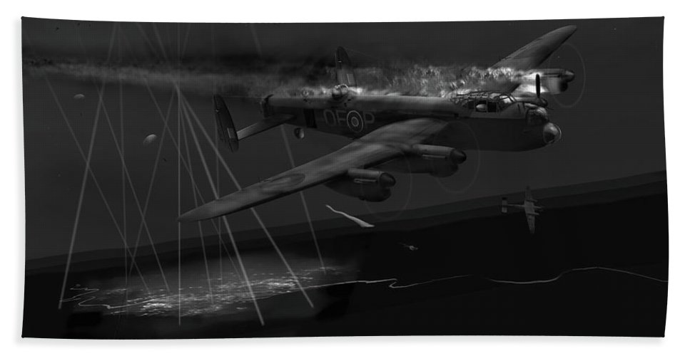 Avro Lancaster Bath Sheet featuring the photograph Layne's Lancaster Black And White Version by Gary Eason