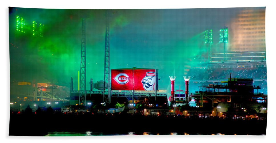 Allstars Game Bath Sheet featuring the photograph Laser Green Smoke And Reds Stadium by Randall Branham