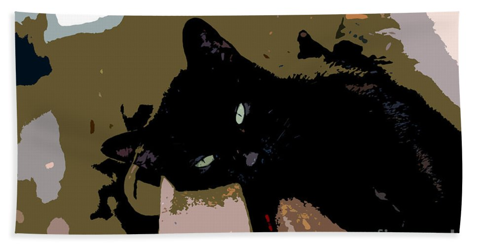 Black Cat Hand Towel featuring the painting Lazy Cat by David Lee Thompson