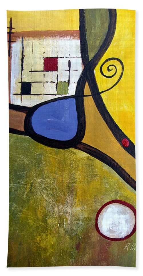 Abstract Hand Towel featuring the painting Lazy Days by Ruth Palmer