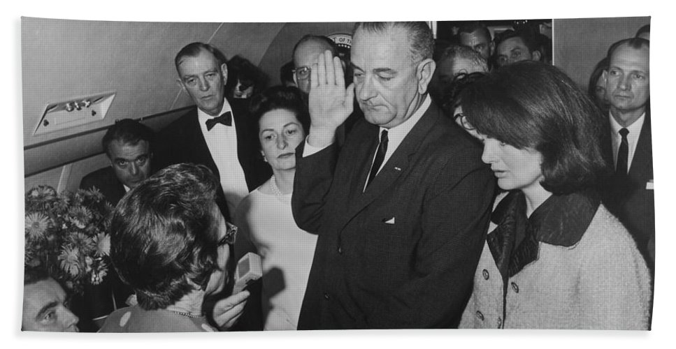 Lbj Hand Towel featuring the photograph Lbj Taking The Oath On Air Force One by War Is Hell Store