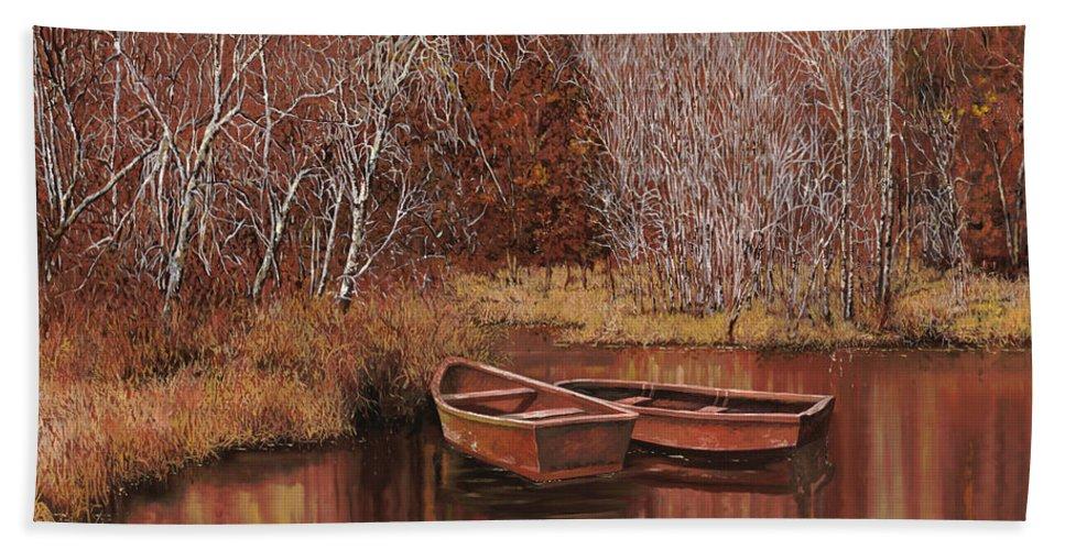 Boats Bath Towel featuring the painting Le Barche Allo Stagno by Guido Borelli