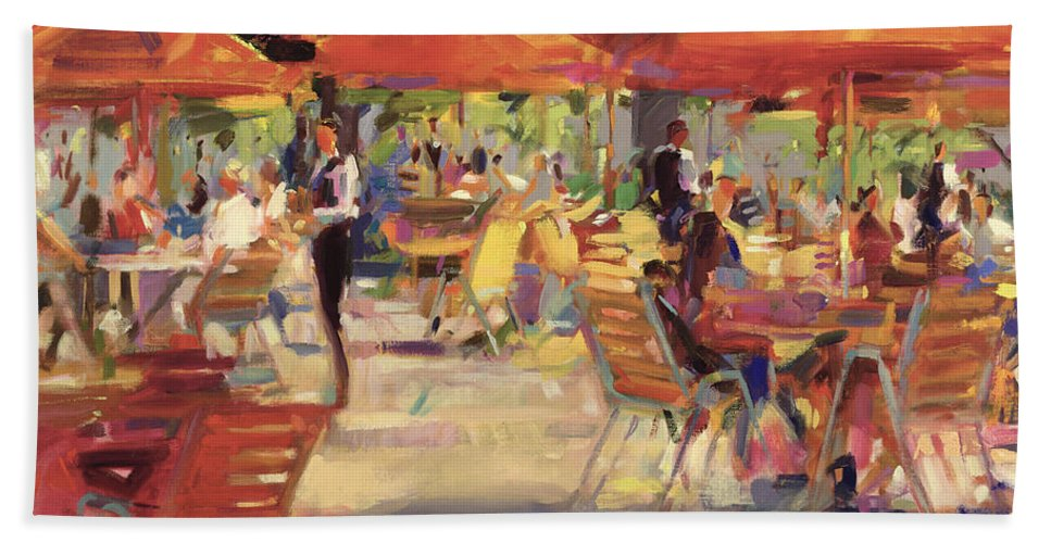 En Plein Air; Al Fresco; Garden; Table And Chairs; Umbrella; Restaurant; Summer; Mediterranean; Outdoors Hand Towel featuring the painting Le Cafe Du Jardin by Peter Graham