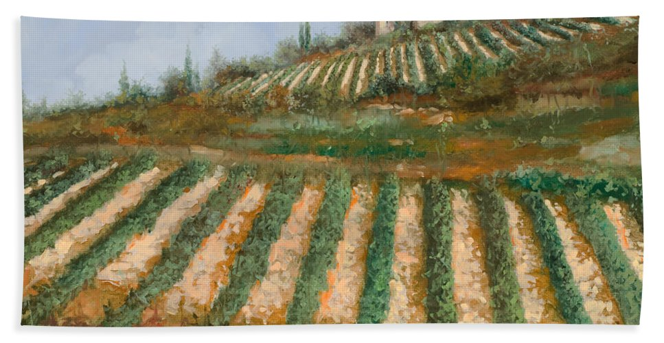 Vineyard Bath Towel featuring the painting Le Case Nella Vigna by Guido Borelli