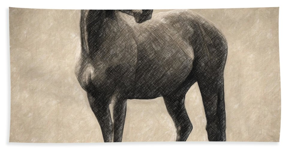 Horse Hand Towel featuring the drawing Le Cheval by Zapista