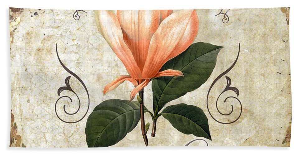 Coral Magnolias Bath Sheet featuring the painting Le Jardin Magnolias by Mindy Sommers