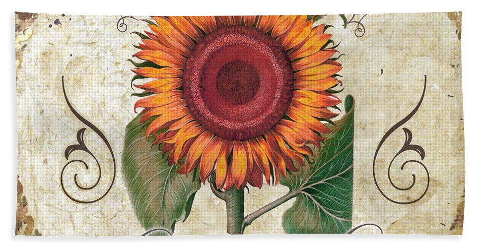 Sunflowers Bath Sheet featuring the painting Le Jardin Tournesols by Mindy Sommers