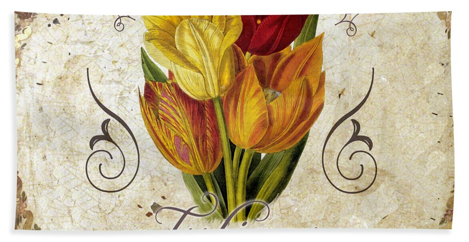 Tulips Bath Sheet featuring the painting Le Jardin Tulipes by Mindy Sommers