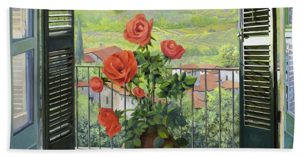 Landscape Bath Towel featuring the painting Le Persiane Sulla Valle by Guido Borelli