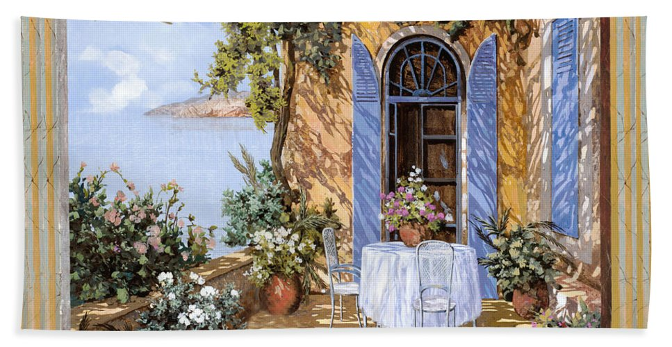 Blue Door Hand Towel featuring the painting Le Porte Blu by Guido Borelli