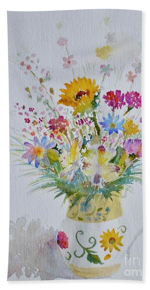 Bouquet Hand Towel featuring the painting Le Printemps Dans La Maison by Solange Rhode
