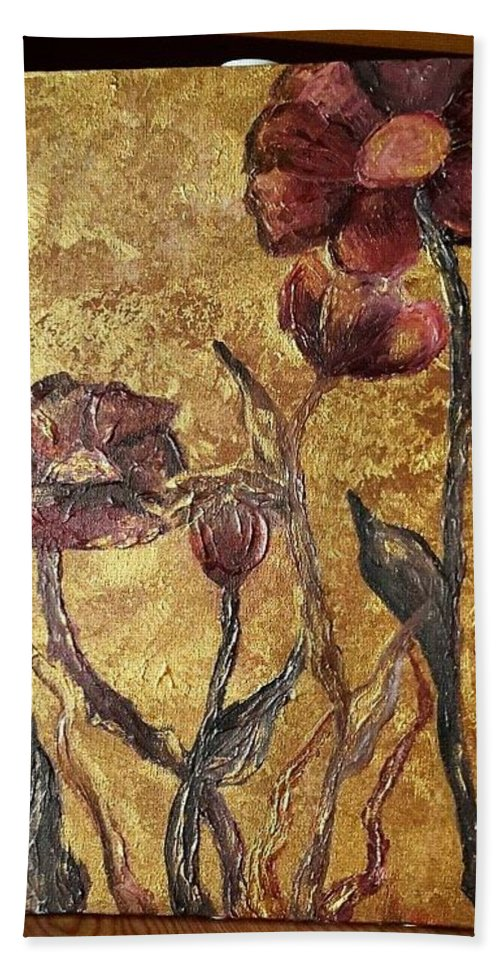 Wildflowers Hand Towel featuring the painting Le Soeil D Or by Nuka Shanidze