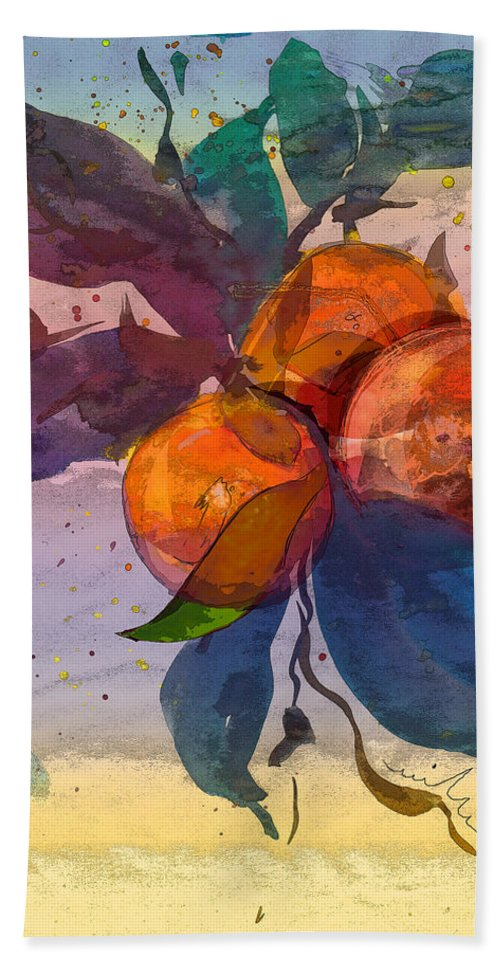 Still Filfe Hand Towel featuring the painting Le Temps Des Oranges by Miki De Goodaboom