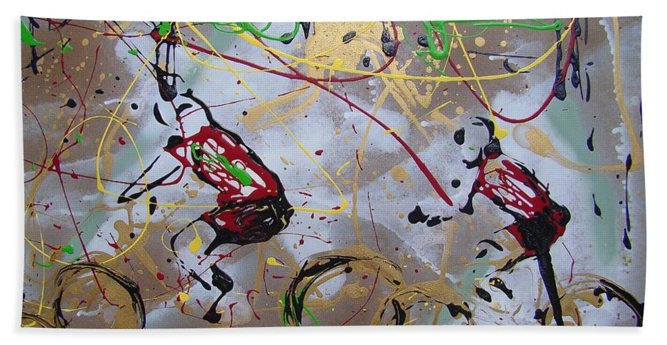 Abstract Bath Sheet featuring the painting Le Tour B by J R Seymour