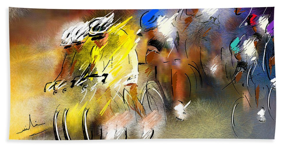Sports Hand Towel featuring the painting Le Tour de France 05 by Miki De Goodaboom