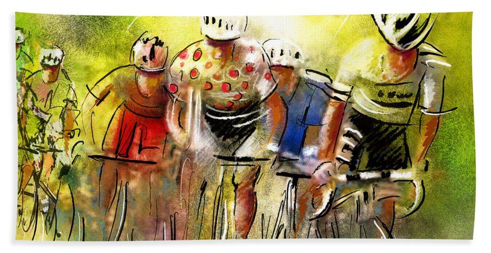 Sports Hand Towel featuring the painting Le Tour de France 07 by Miki De Goodaboom