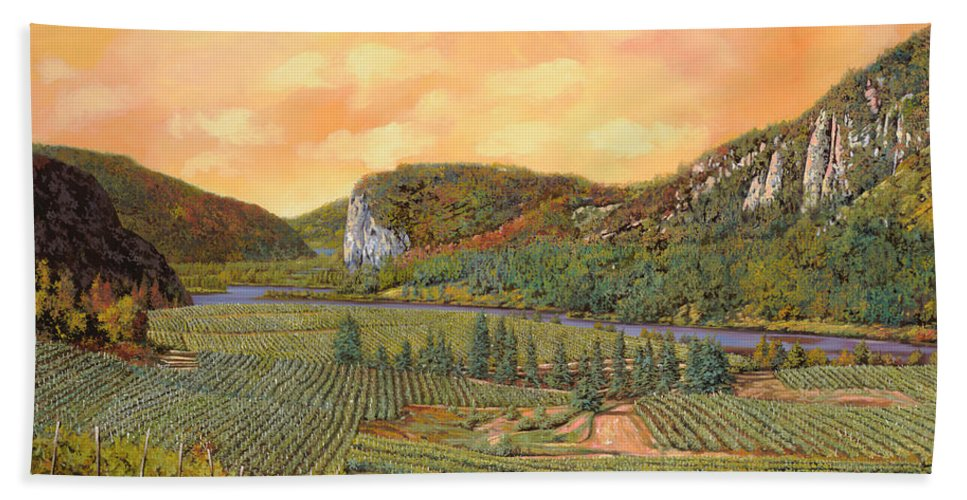 Vineyard Bath Sheet featuring the painting Le Vigne Nel 2010 by Guido Borelli