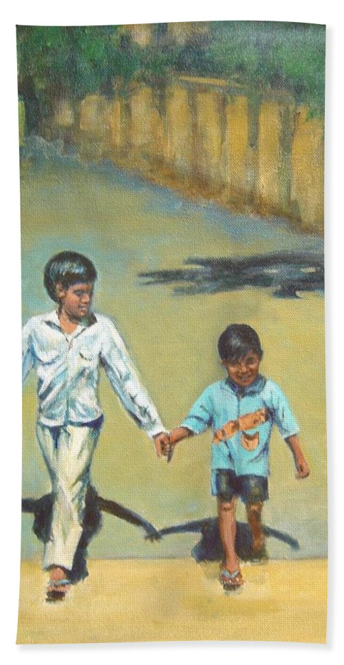 Lead Bath Towel featuring the painting Lead Kindly Brother by Usha Shantharam