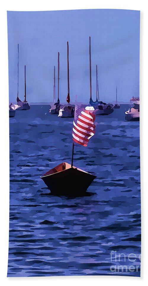Boat Photograph Bath Sheet featuring the photograph Leader Of The Pack- Bristol Rhode Island Oil Effect by Tom Prendergast