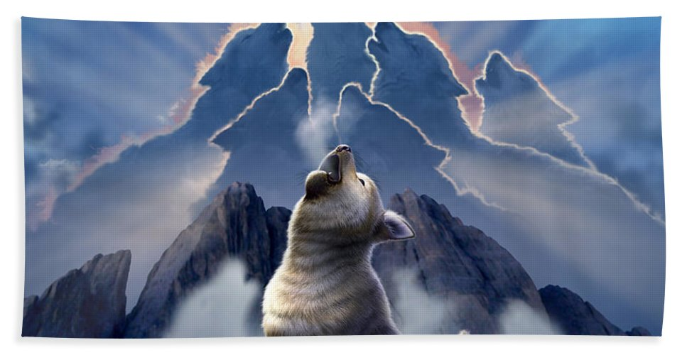 Wolf Hand Towel featuring the digital art Leader Of The Pack by Jerry LoFaro