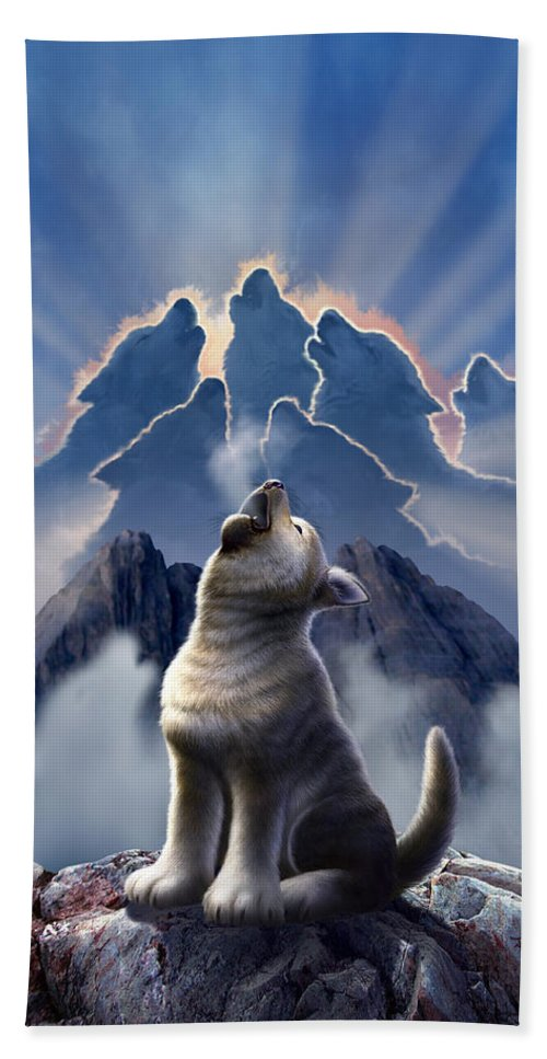 Wolf Bath Towel featuring the digital art Leader of the Pack by Jerry LoFaro