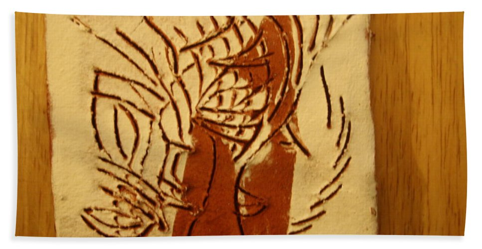 Jesus Hand Towel featuring the ceramic art Leaders - Tile by Gloria Ssali