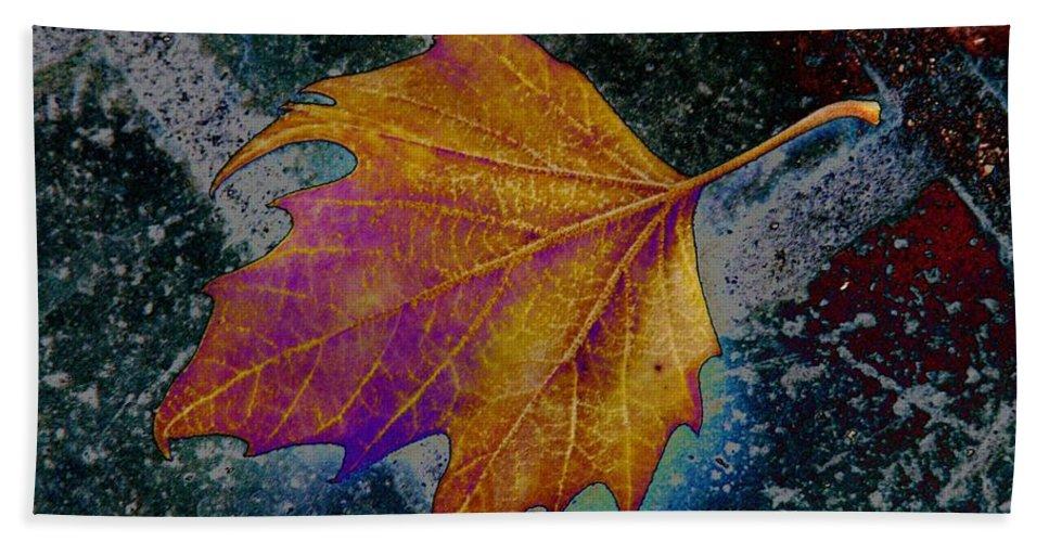Leaf Bath Towel featuring the photograph Leaf On Bricks 4 by Tim Allen
