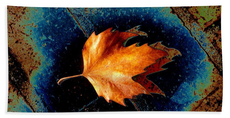 Leaf Bath Sheet featuring the photograph Leaf On Bricks 5 by Tim Allen