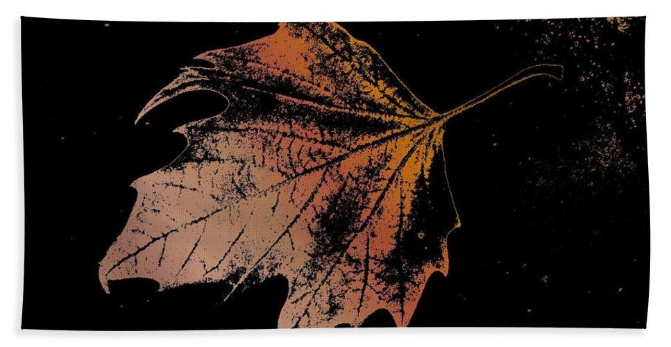 Digital Photo Manipulation Bath Towel featuring the digital art Leaf On Bricks by Tim Allen