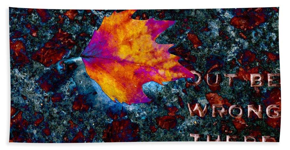 Leaf Bath Towel featuring the digital art Leaf On Stone by Tim Allen
