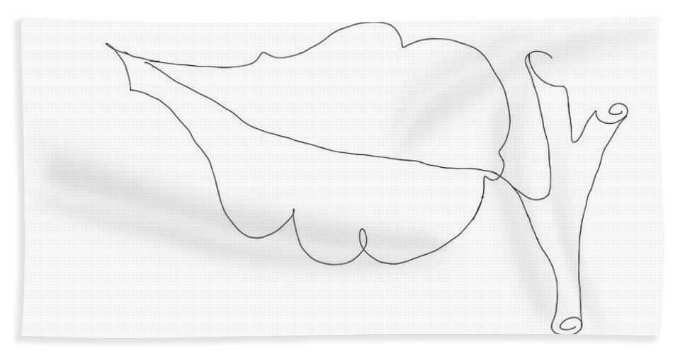 Leaf Bath Sheet featuring the drawing Leaf by Priscilla Wolfe