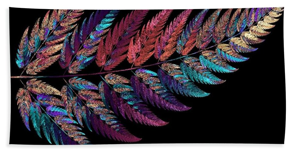 Reflection Bath Sheet featuring the digital art Leaf Reflection by Kreative Minds Technology